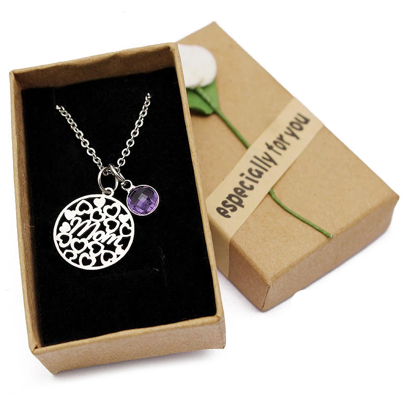Women's Round Love Heart Mom Necklace with Crystal Birthstone Pendant