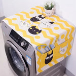 Cotton Cartoon Print Washing Machine Dust Cover with Side Pockets