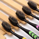 10Pcs Bamboo Charcoal Toothbrush Double Ultra Soft Toothbrush Set