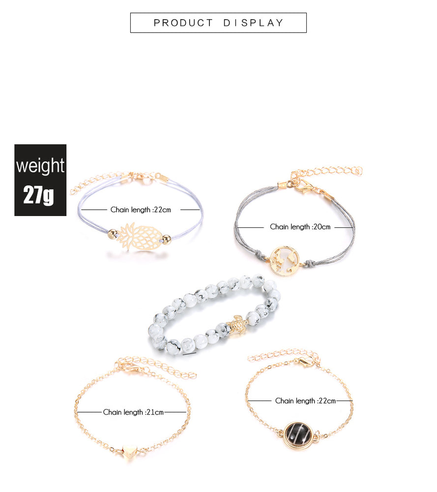5 Piece: Women's Charmed Fashion Sunshine Bracelet Set