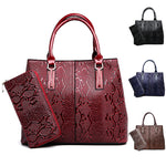 Women's Elegant Embroidery Leather Handbag with Matching Purse