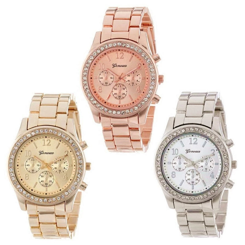 Silver women's watch with 3 dials