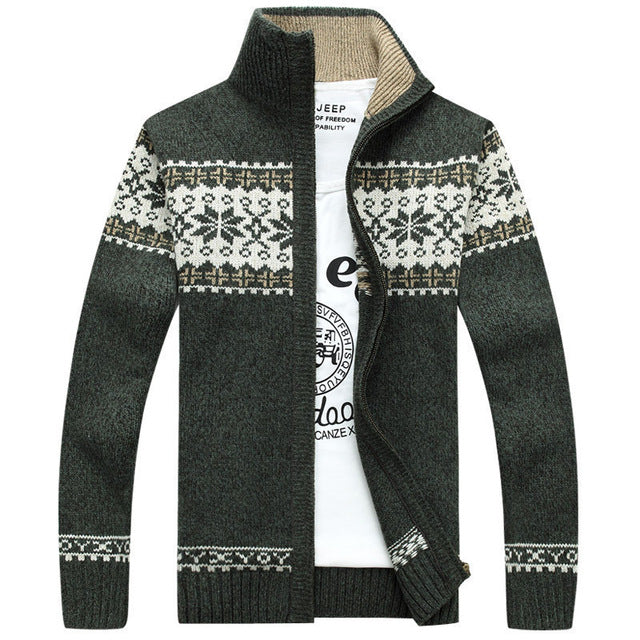 Men's Casual Striped Cardigan Winter Sweater
