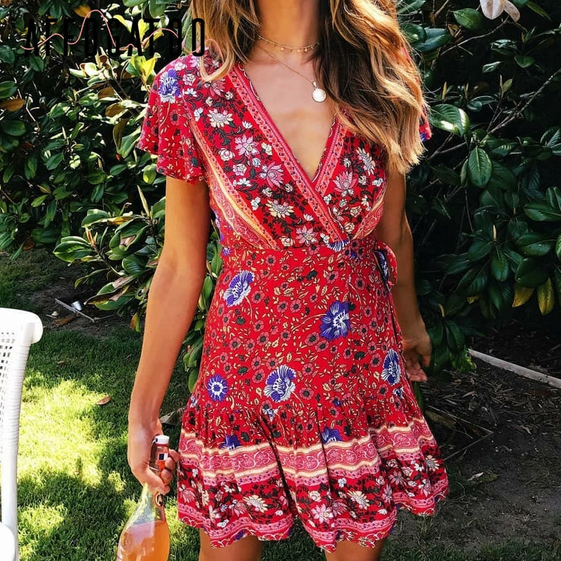Women's Bohemian Floral V-Neck Wrap Sun Dress