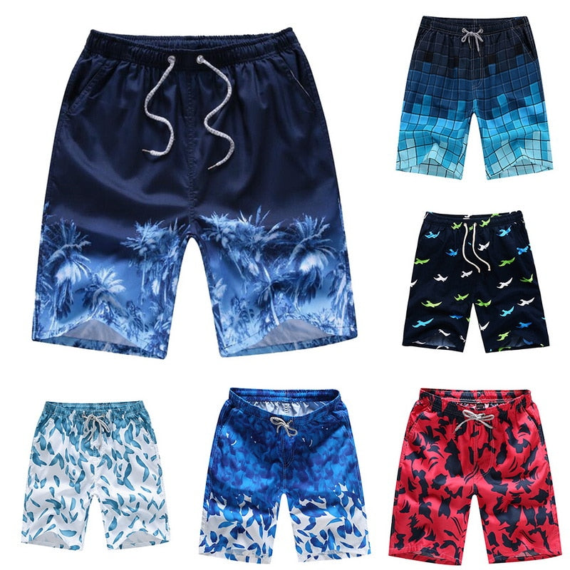 Men's Quick-Dry Drawstring Summer Beach Swim Trunks