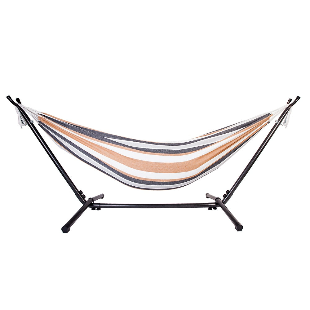 Double Outdoor Swinging Hammock with Steel Stand and Portable Carry Case