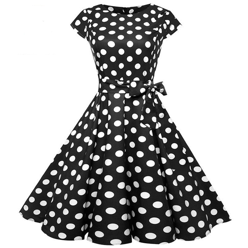 Women's Black White Polka Dot  or Floral Vintage Dress