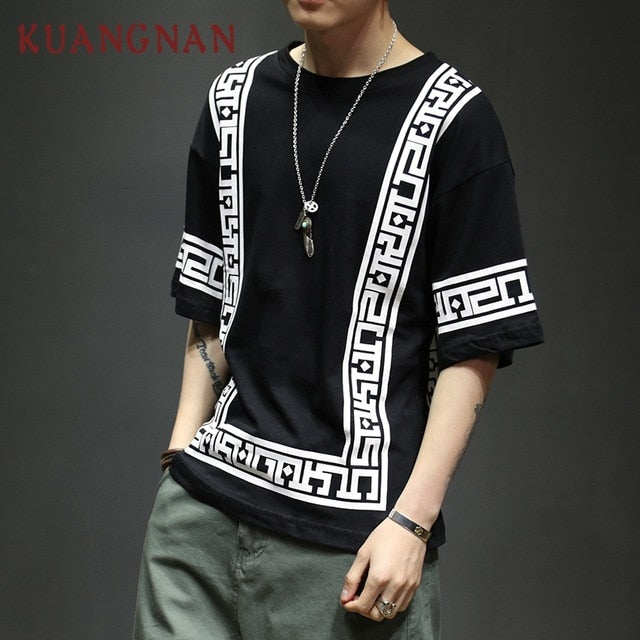 Men's Oversized Urban Design Short Sleeve T-Shirt