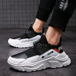 Black and White Men's Lace-up Non-Slip Breathable Sneakers