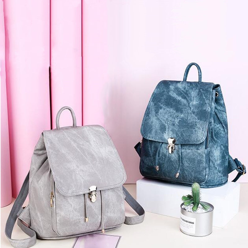Women's High Fashion Leather Backpack & Clutch Purse