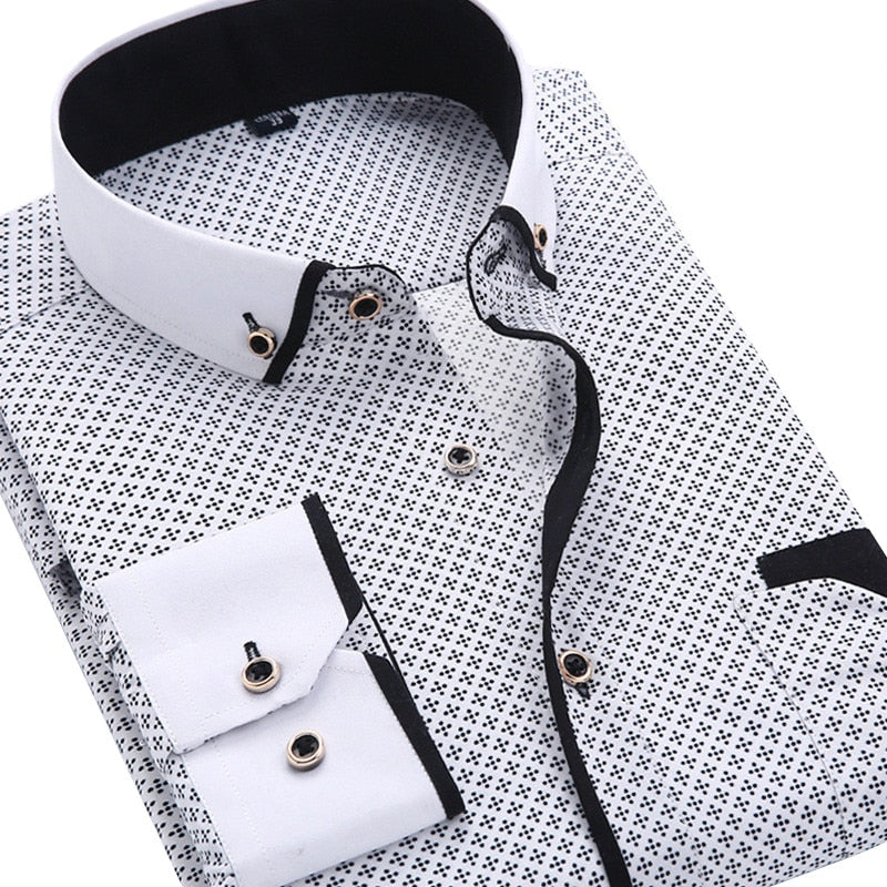 Men's Fashion Casual Long Sleeved Printed Shirt Slim Fit