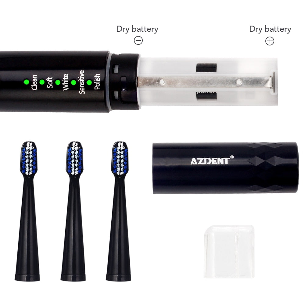 Pro Sonic Electric 5 Mode Timer Toothbrush with Three Replacement Heads