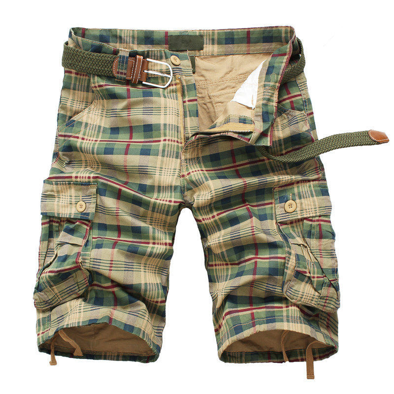 Men's Casual Plaid Beach Cargo Shorts
