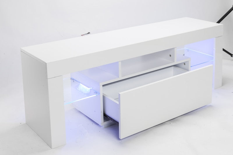 TV Stand Cabinet Console with LED Light Shelves and Pull-Out Drawer