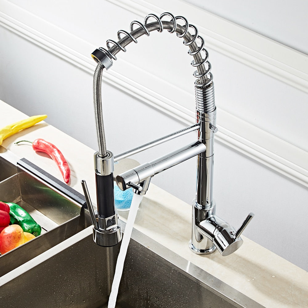 Stainless Steel Swivel Spout Pull-Down Spring 2 Mode Kitchen Faucet