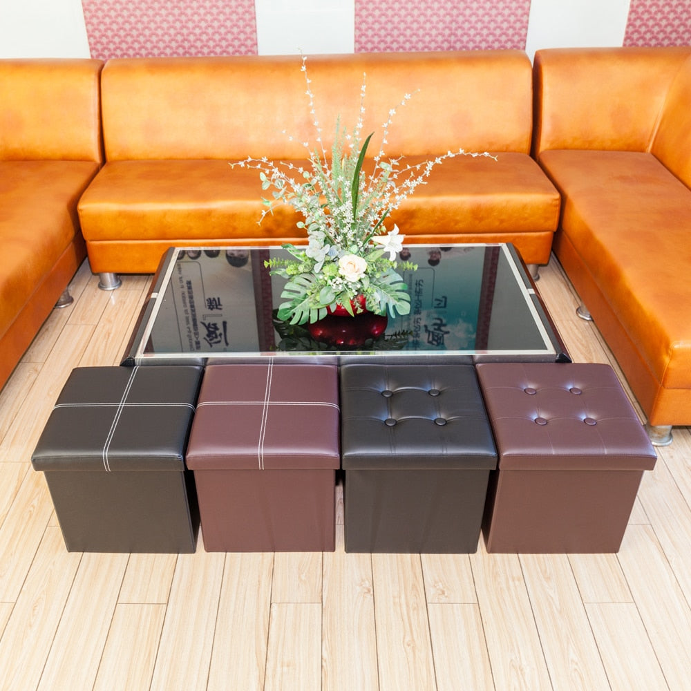 Square Leather Living Room Footstool Organizer