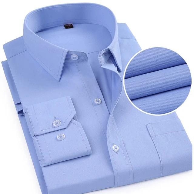 Men's Long Sleeve Ribbed Twill Dress Shirt