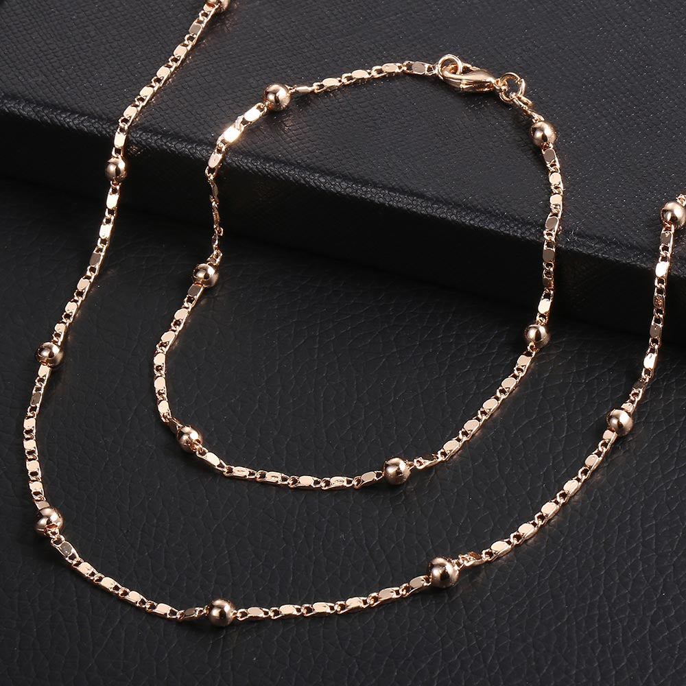 Braided Foxtail Rose Gold Jewelry Set Necklace and Bracelet