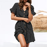 Women's Summer Chiffon Polka Dot A-Line Dress