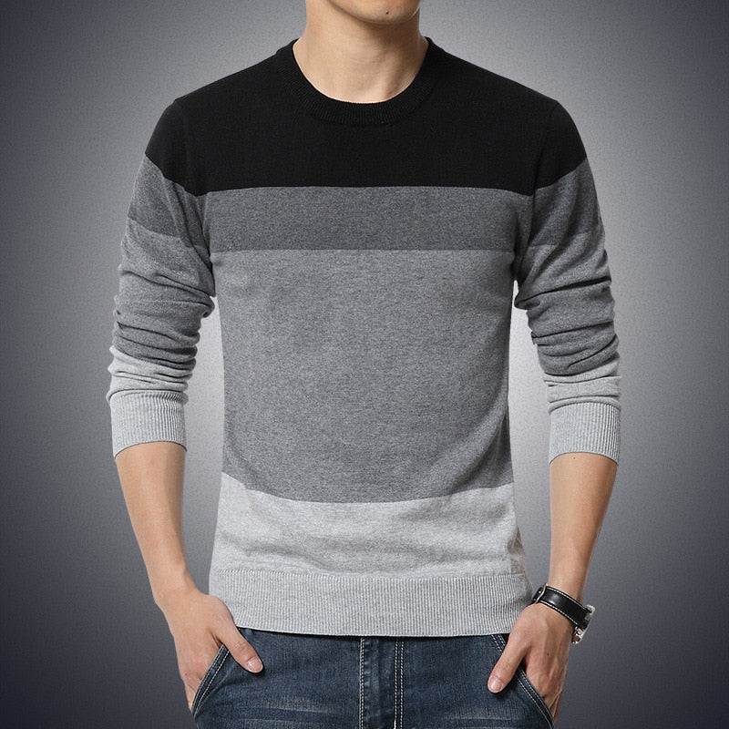 Black Men's Casual O-Neck Striped Slim Fit Pullover Sweater