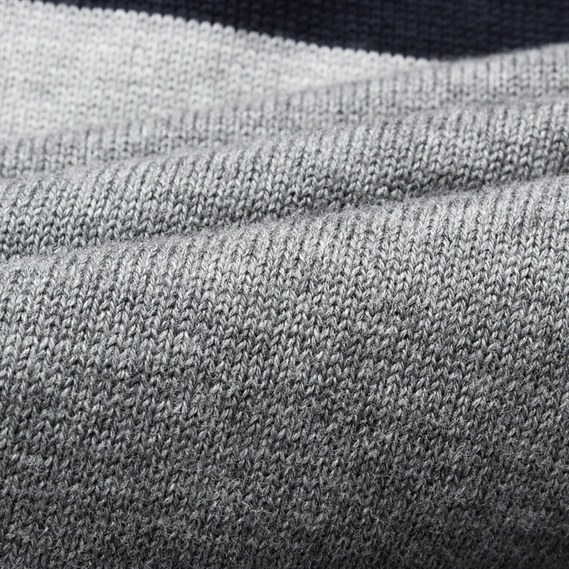 Men's Casual O-Neck Striped Slim Fit Pullover Sweater Close Up of Knit
