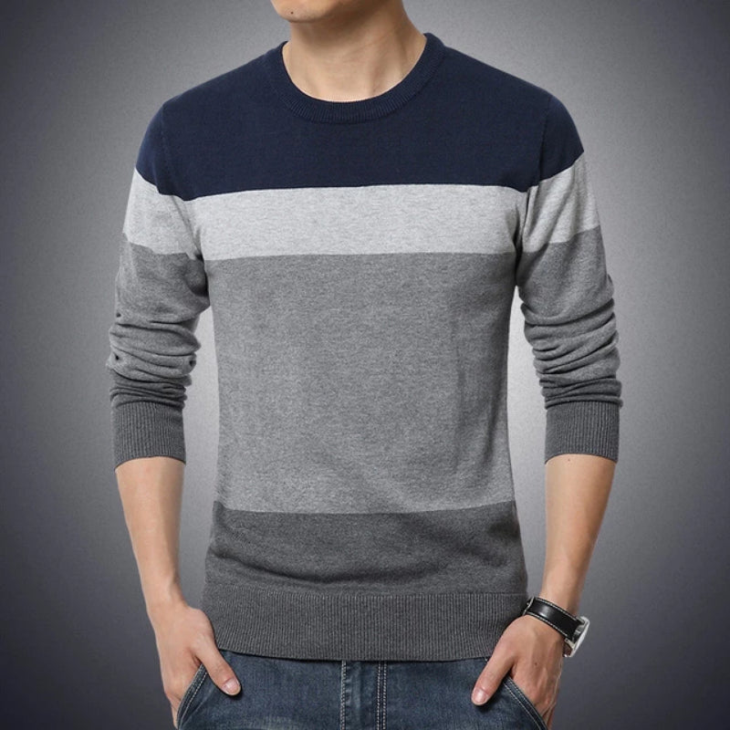 Navy Men's Casual O-Neck Striped Slim Fit Pullover Sweater