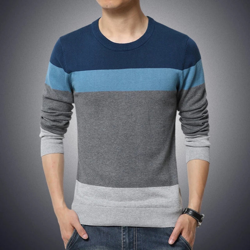 Men's Casual O-Neck Striped Slim Fit Pullover Sweater Close Up of Hem