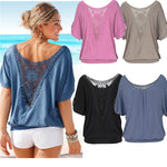 Women's Casual O-Neck Vintage Lace Blouse