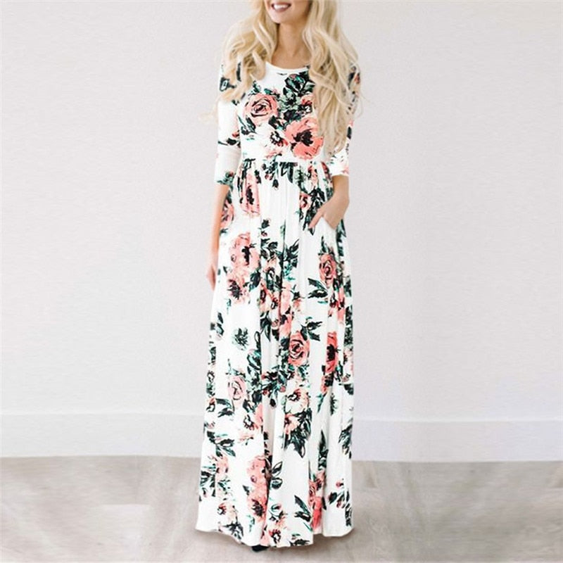 Women's Long Quarter Sleeve Floral Boho Beach Dress