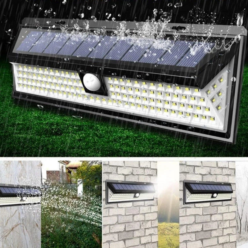 118 LED Solar Rechargeable Outdoor Waterproof - 3 Mode - Garden Light with Motion Sensor