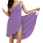 Women's Sexy Backless Striped  V-neck Spaghetti Strap Cover ups Beach Dress