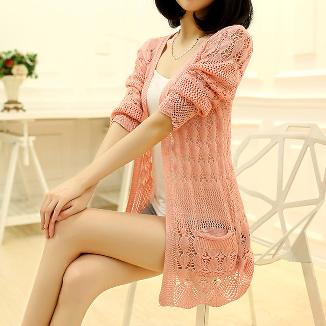Women's Knitted Loose Cardigan with Pocket & Hollow Long Sleeves