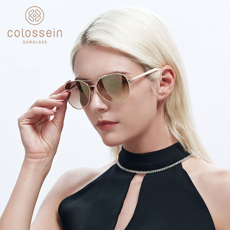 Women's Fashion Gold Frame Sunglasses UV400 with Case and Bag