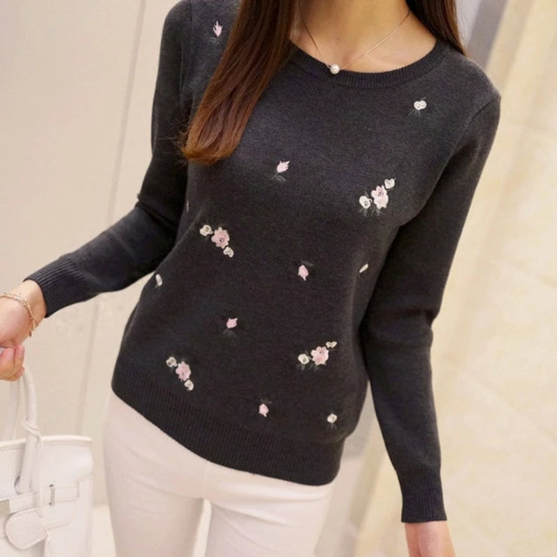 Women's Embroidery Knitted Pullover Sweater