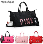 "Women's ""Pink"" Travel Fitness Bag with Shoe Compartment"