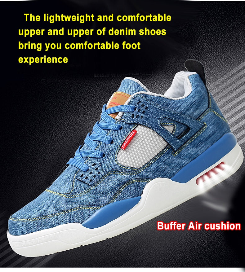 Men's Air Cushion Casual Denim Canvas Sneakers