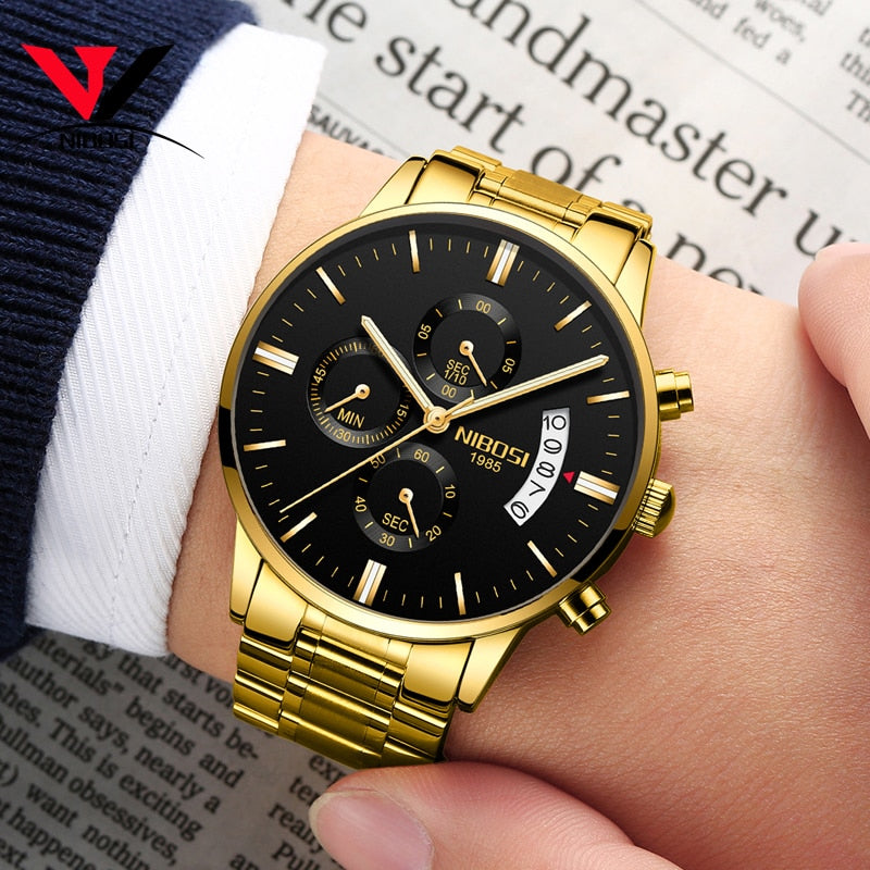Men's Top Luxury Stainless Steel Band Gold Quartz Watch