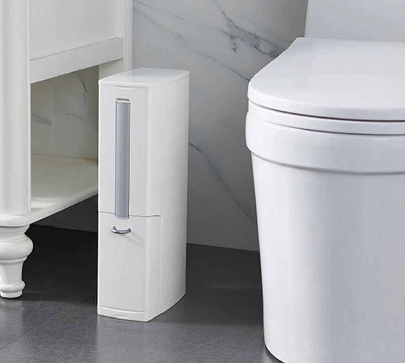 White Bathroom Narrow Plastic Trash Can Set with Toilet Brush