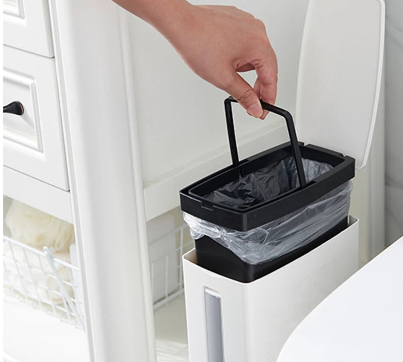 Bathroom Narrow Plastic Trash Can Set with Toilet Brush