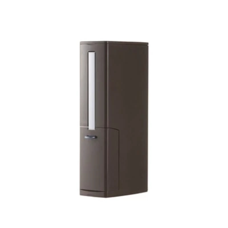 Brown Bathroom Narrow Plastic Trash Can Set with Toilet Brush