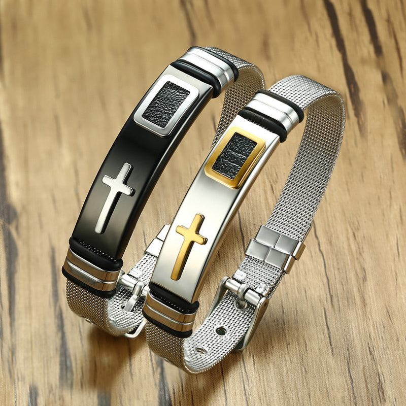 Women's Adjustable Length Stainless Steel Cross Bracelet Bangle Watch