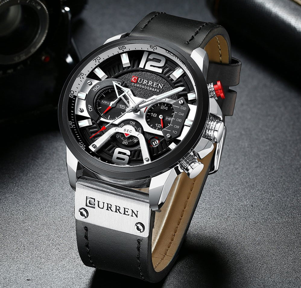 Men's High Business Leather Strap Waterproof Chronograph Quartz Watch