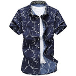 Men's Casual Hawaiian Print Short Sleeve Button-Up