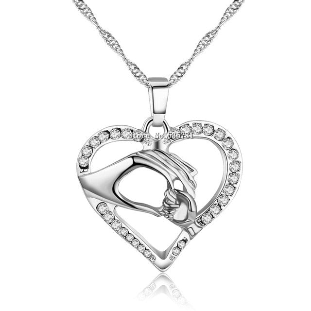 Women's Cubic Zirconia Mom Necklace Baby Heart Pendant Daughter Son Child Family Love Necklace