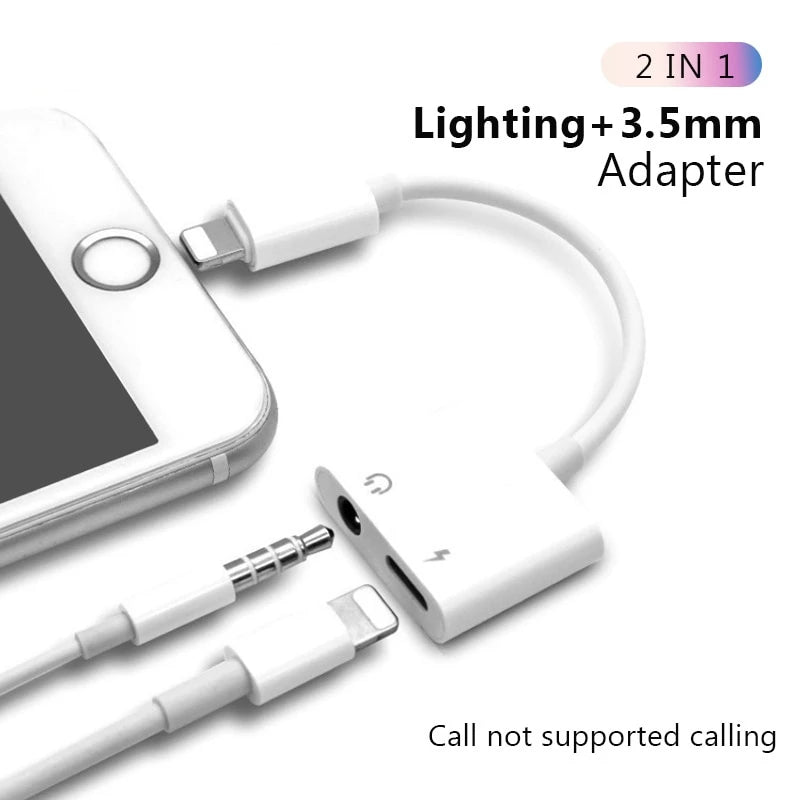 2-in-1 iPhone Lightning Audio and Charging Split Adapter