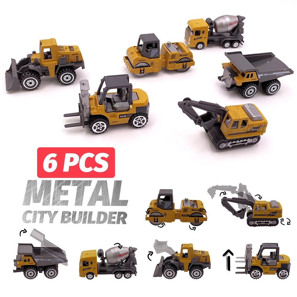 6 Piece: Miniature Alloy Metal Engineering Construction Vehicle Set