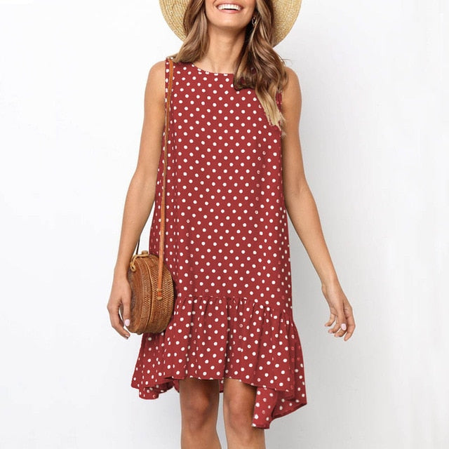 Women's Summer Polka Dot Print Mini Dress
