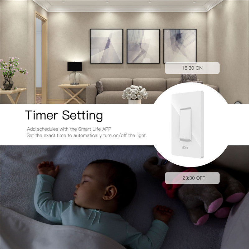 3-Way WiFi Smart Light Switch with APP Control - Works with Alexa & Google Home