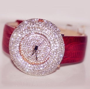 Women's Luxurious Full Crystal Rhinestone Leather Wristwatch