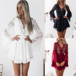 Women's Hollow Out Chiffon Mini Dress